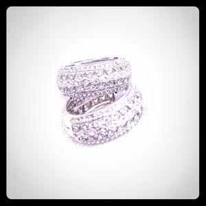 Nadri Crystal Pave Hoop Earring, silver tone EUC